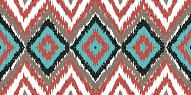 Cobalt arabic shibori. red carpet vector seamless pattern Premium Vector