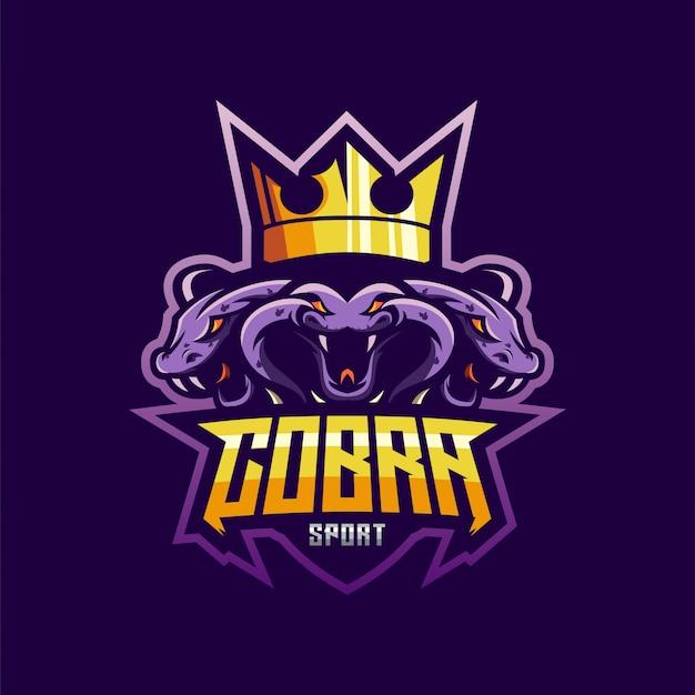 Потрясающий киберспорт логотип cobra Premium векторы
