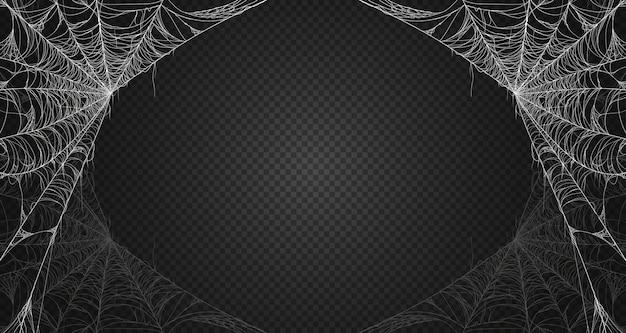 Cobweb  on black transparent background. premium . Premium Vector