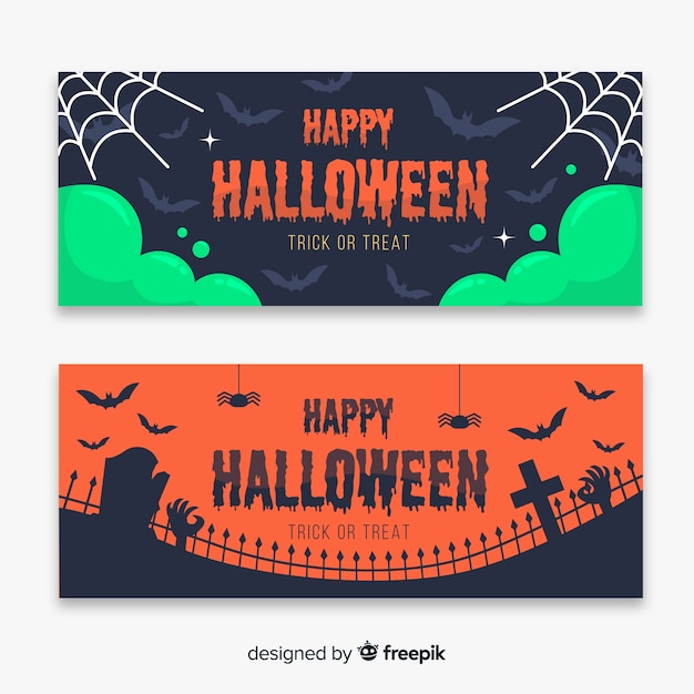 Cobweb and cemetery flat halloween banners Free Vector