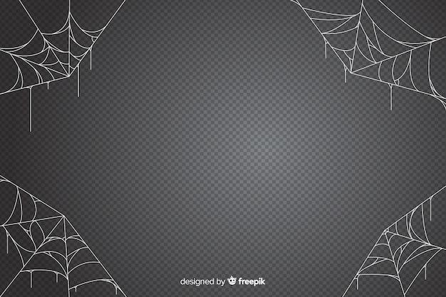 Cobweb halloween background in grey shades Free Vector
