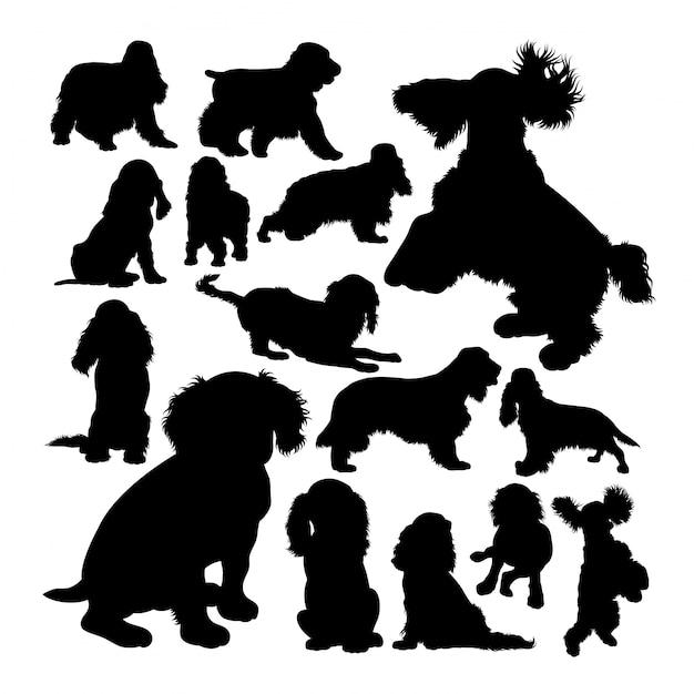 Cocker spaniel dog animal silhouettes Premium Vector