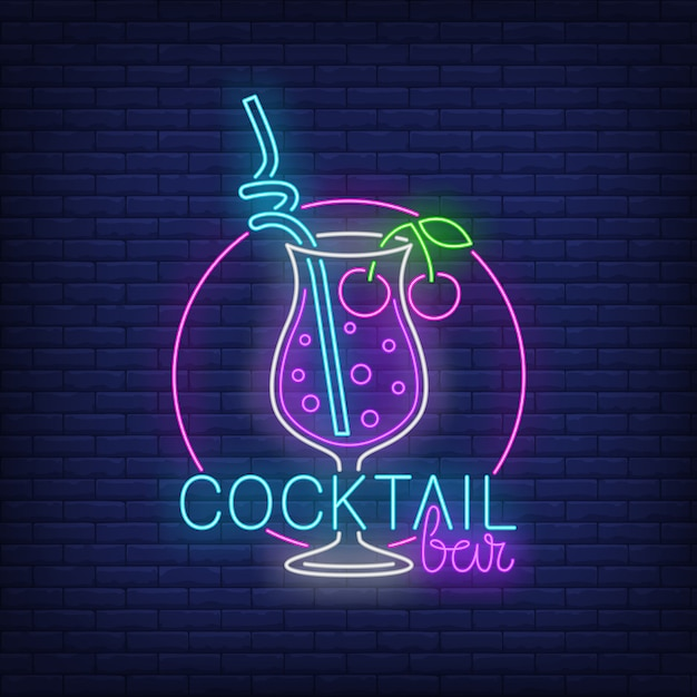 Cocktail bar neon text, drink with straw and cherries Free Vector