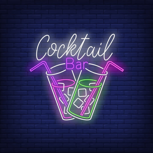 Cocktail bar neon text, two drink glasses, straws and ice cubes Free Vector