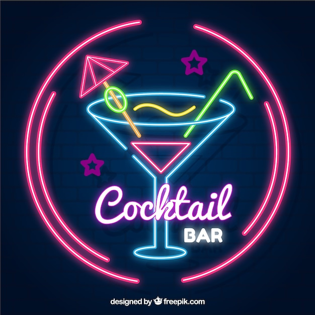 Cocktail bar sign with neon light style Vector | Free Download