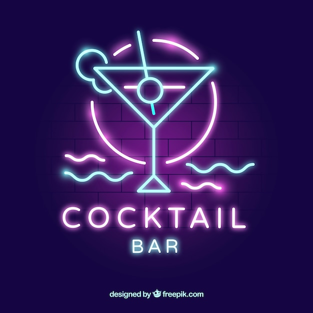 Cocktail bar sign with neon light style Free Vector