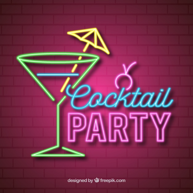 Cocktail bar sign with neon light style Vector   Free Download