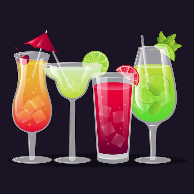 Cocktail collection in flat design Free Vector