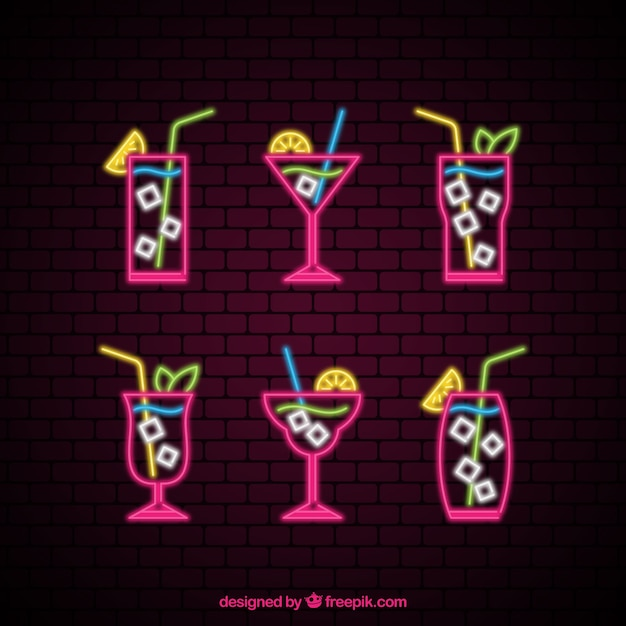Cocktail collection with neon lights style Free Vector