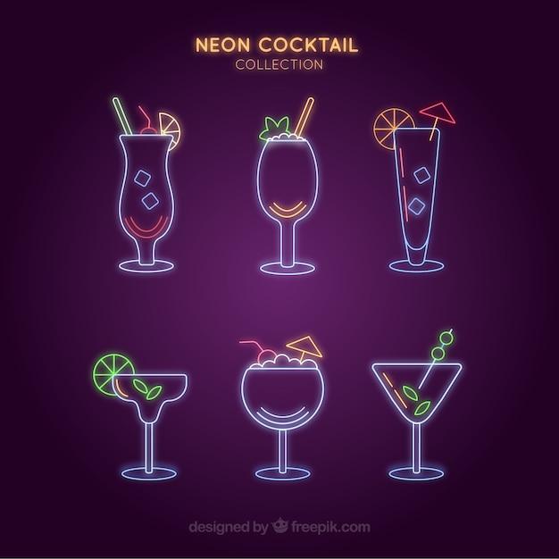 Collezione cocktail con stile luci al neon Vettore gratuito