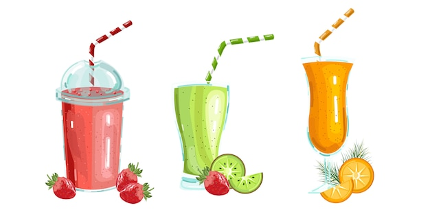 Cocktail drinks collection Premium Vector