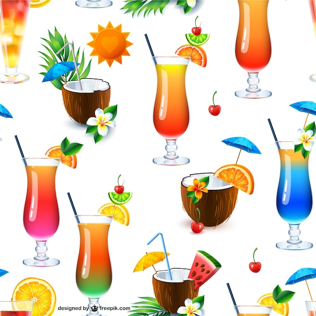 Cocktail drinks seamless pattern Free Vector