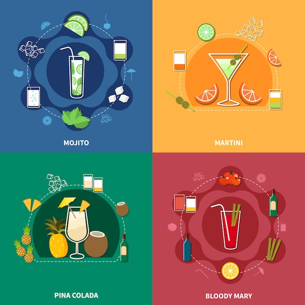 Cocktail icon set Free Vector