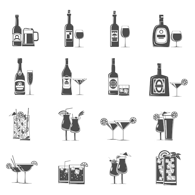 Cocktail icons black Free Vector