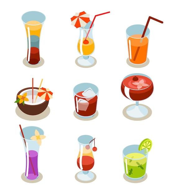 Изометрические иконки коктейль. стекло и алкоголь, жидкость и сок, тропический фреш. Бесплатные векторы