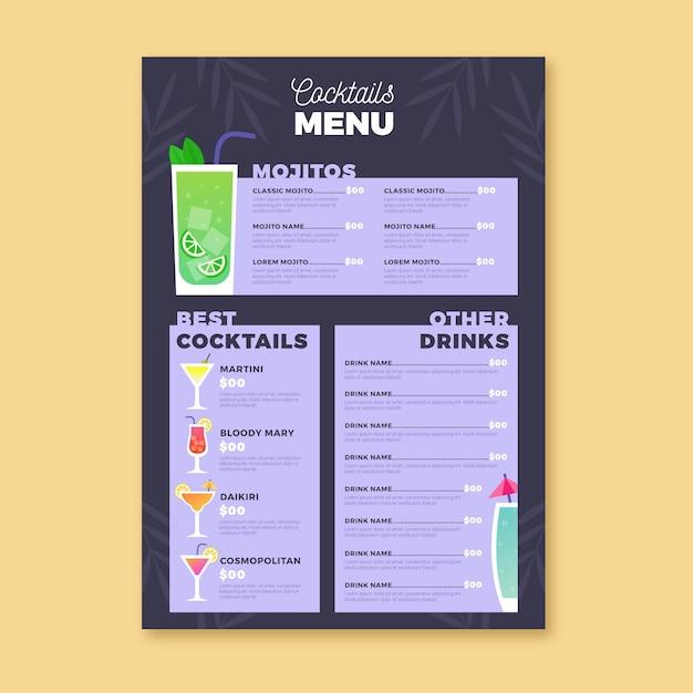Cocktail illustration menu Free Vector