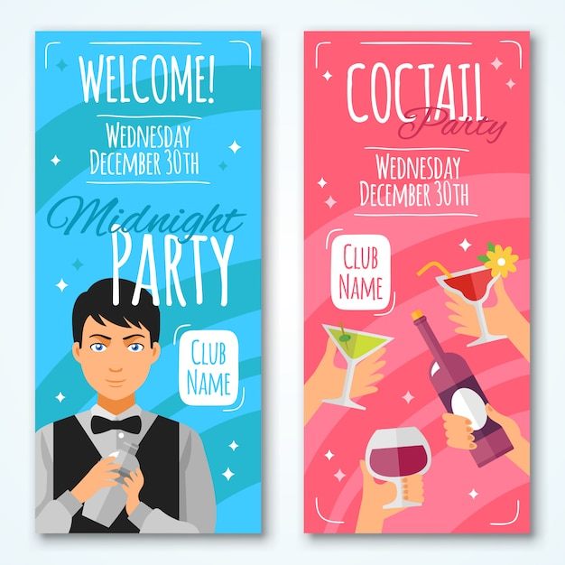 Cocktail invitations set Free Vector