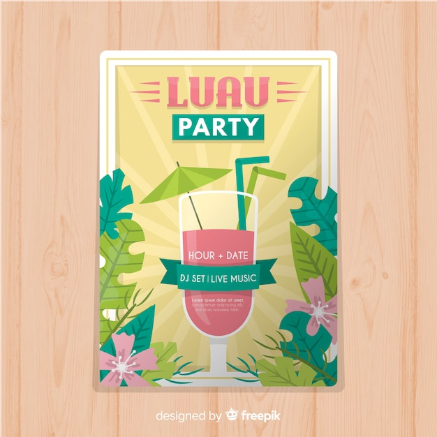 cocktail luau poster template vector free download
