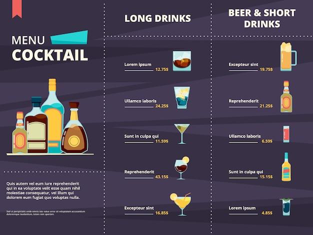 Cocktail menu. alcoholic different corporate drinks in restaurant or bar menu design template Premium Vector