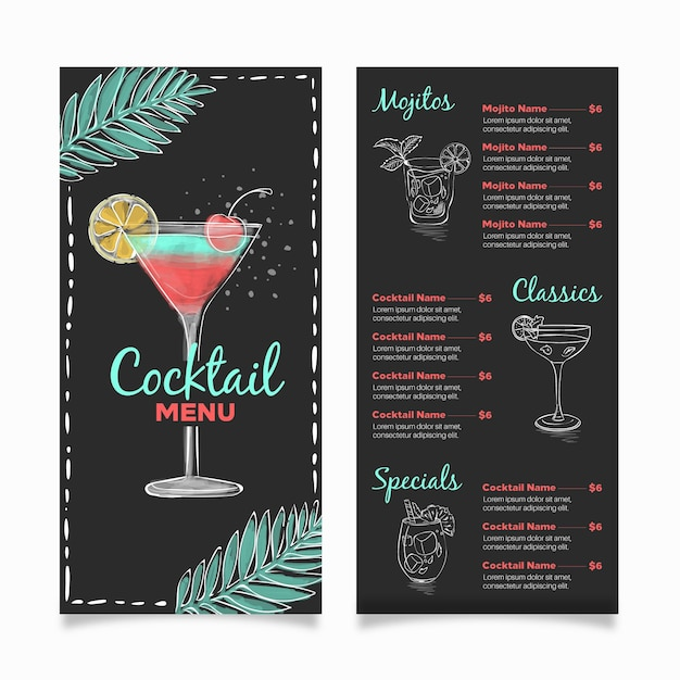 Concetto di menu di cocktail Vettore gratuito