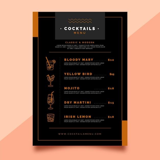 Cocktail menu concept Free Vector
