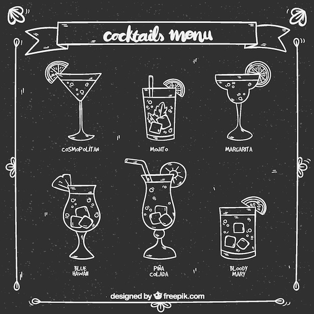 cocktail menu design in chalk style vector free download