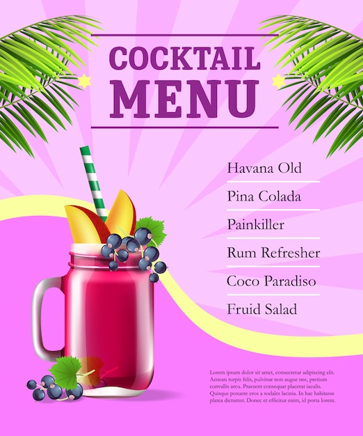 Cocktail menu poster  fruit smoothie and palm leaves on pink
