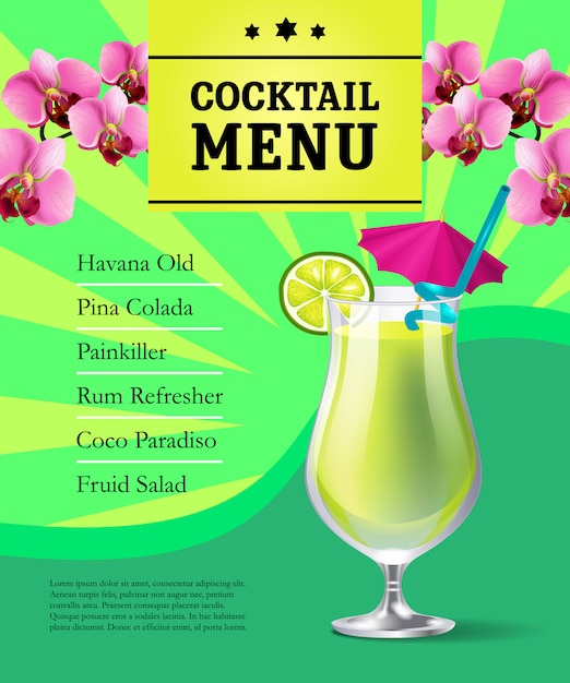 cocktail menu poster template cold drink in glass and orchid
