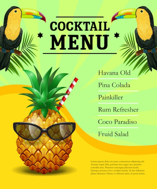 cocktail menu poster template pineapple in sunglasses toucans