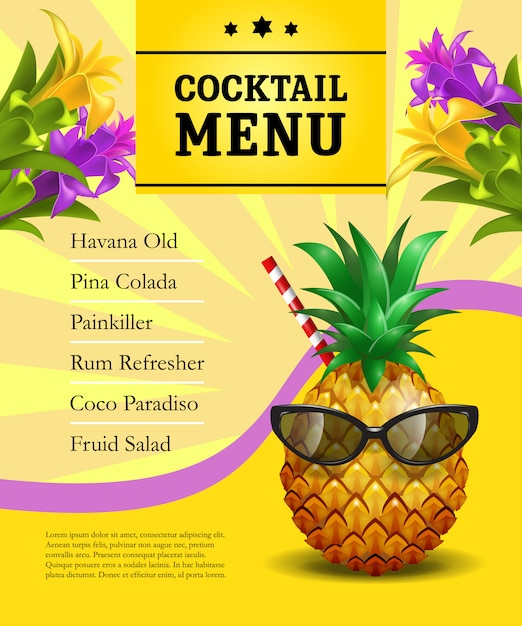 Cocktail menu poster template. Pineapple in sunglasses with drinking straw  Free Vector