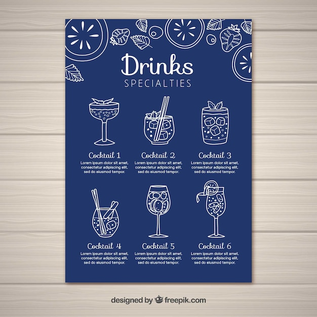 Cocktail menu template in flat style Free Vector