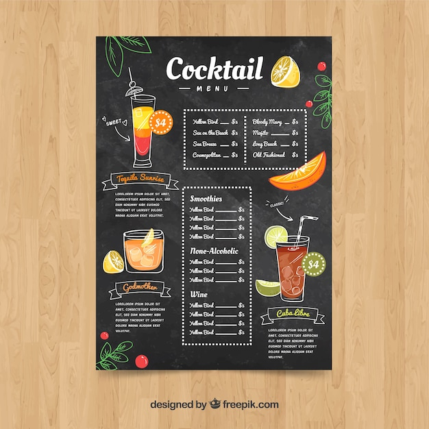 Cocktail menu template in hand drawn style Premium Vector