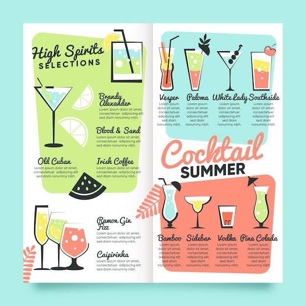 Cocktail menu template hand drawn Premium Vector
