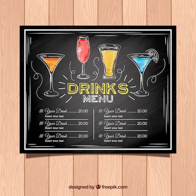 Cocktail Menu Template In Blackboard Style  Drinks Menu Template
