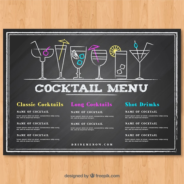 cocktail menu template in blackboard style vector free download