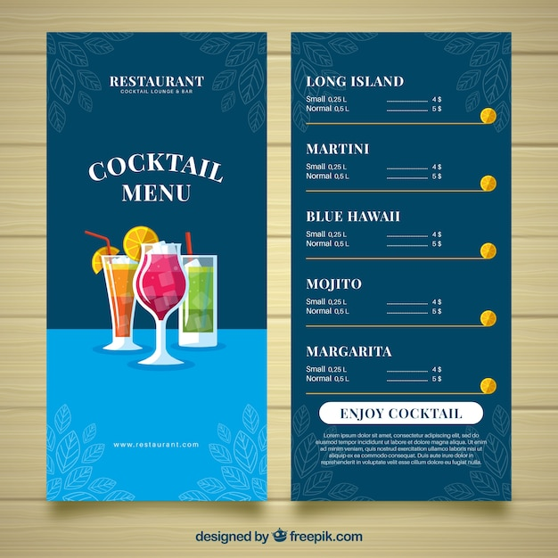 Cocktail Menu Template In Flat Design Vector Free Download - Small menu template