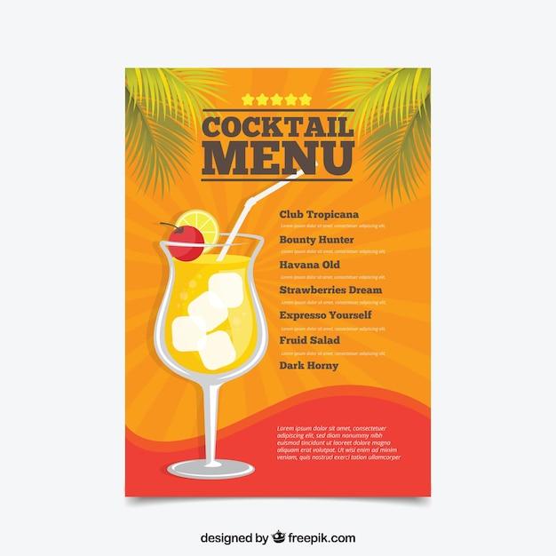 cocktail menu template in flat design vector