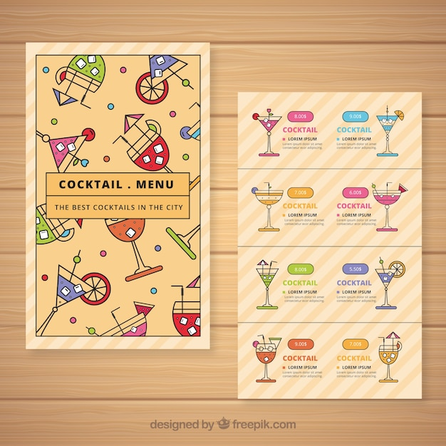 Cocktail Menu Template In Flat Style Free Vector  Cocktail Menu Template Free Download