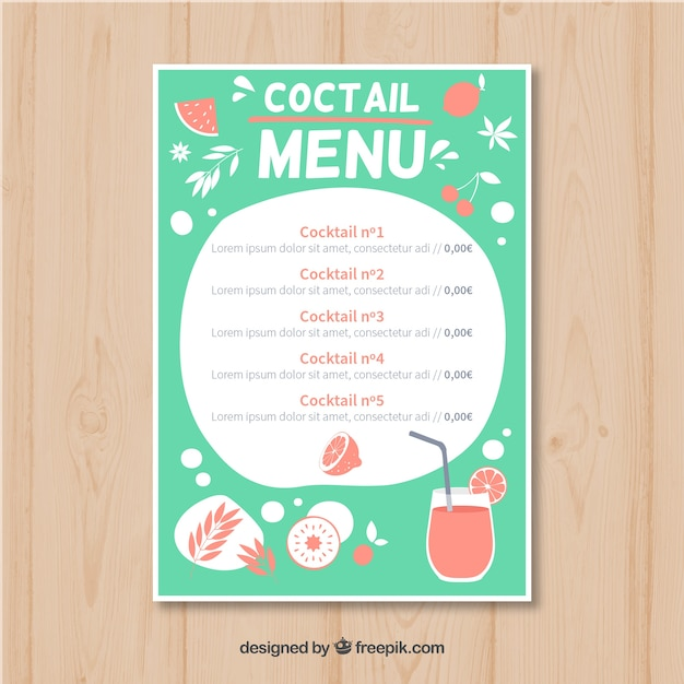 Cocktail Menu Template In Hand Drawn Style Vector | Free Download  Cocktail Menu Template Free Download