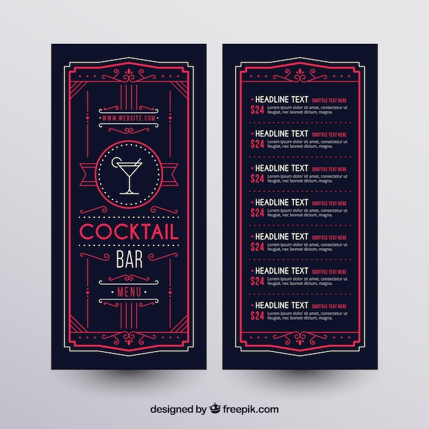 Cocktail menu template with elegant style Free Vector