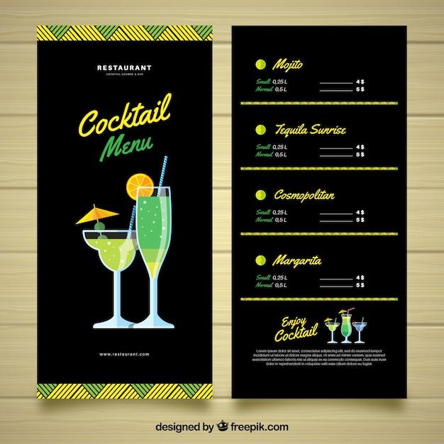 Modello di menu cocktail con stile elegante Vettore gratuito