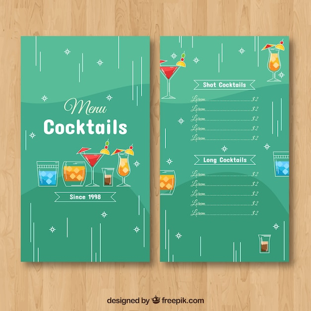 Modello di menu cocktail con design piatto Vettore gratuito