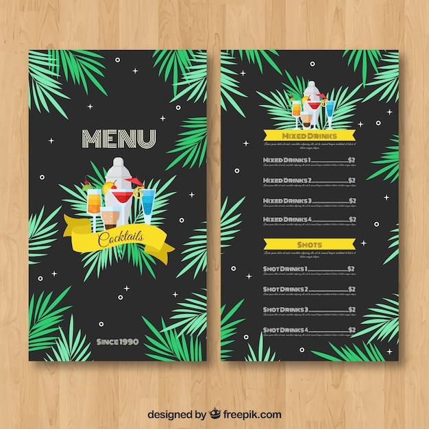 Modello di menu cocktail con foglie di palma Vettore gratuito