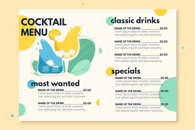 Cocktail menu template Premium Vector