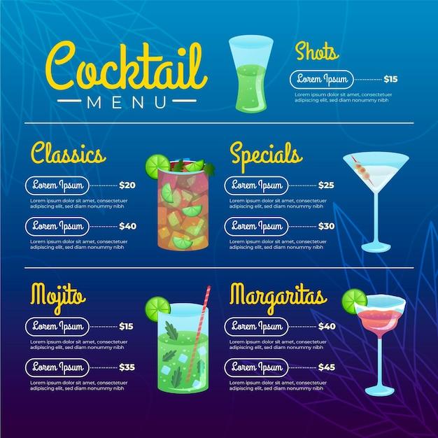 Cocktail menu template Premium Vector