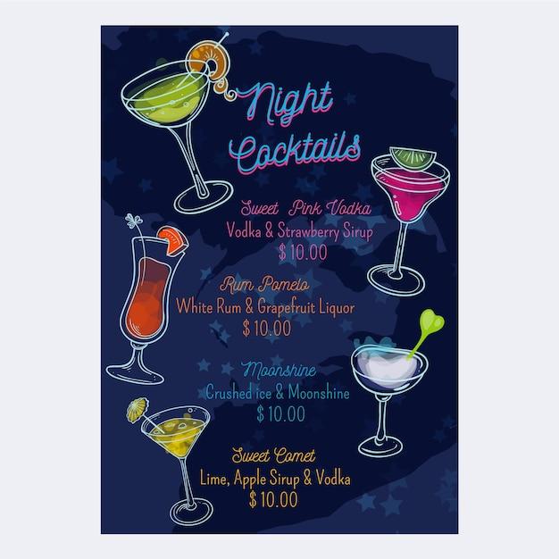 Cocktail menu template Free Vector