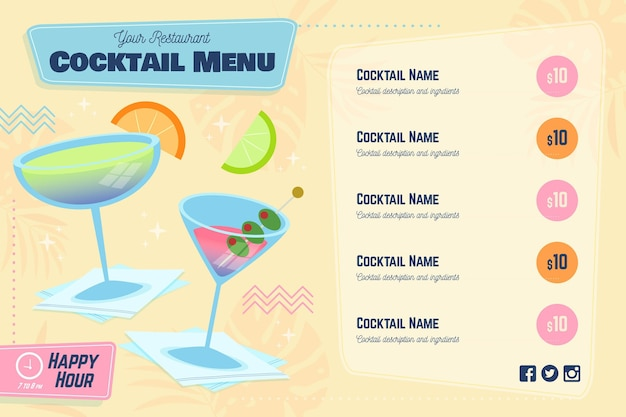 Cocktail menu with slices of citrus Free Vector