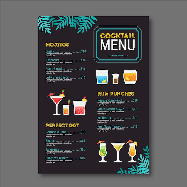 Cocktail menu Free Vector