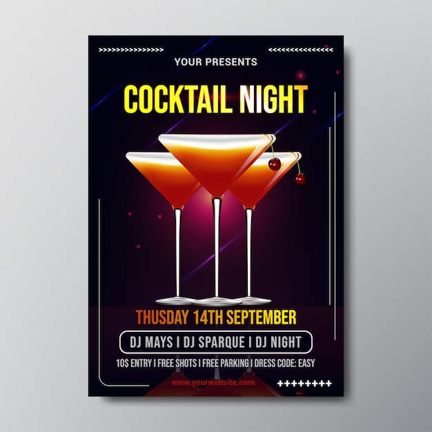 Cocktail night poster template vector Premium Vector