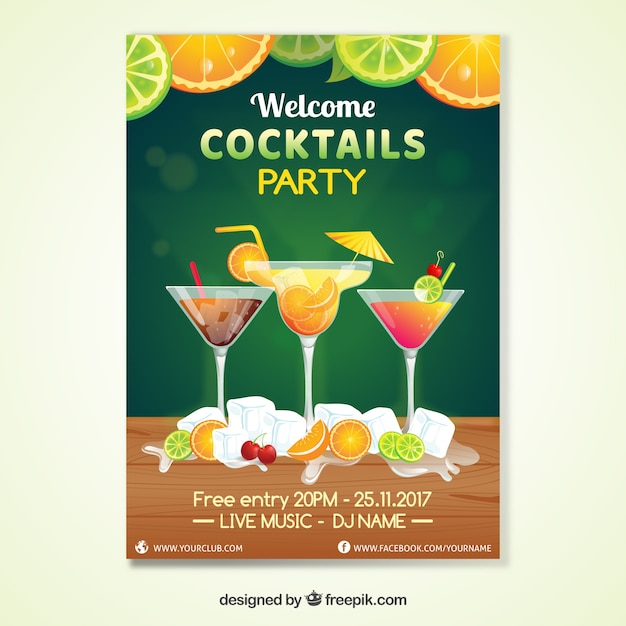 Cocktail Party Invitation Vector Free Download